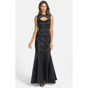 Xscape black lace & taffeta ruched mermaid dress 2